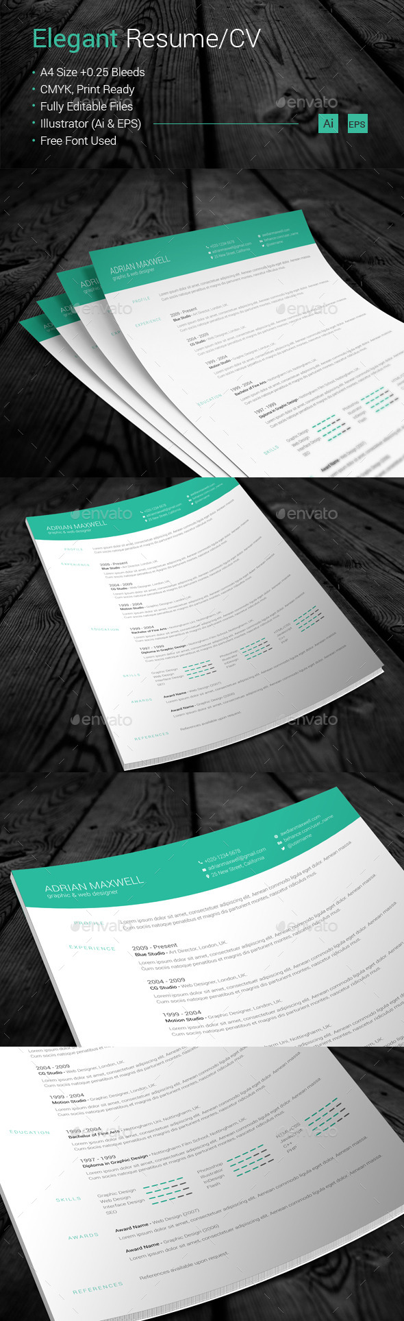 Elegant Resume/CV - Resumes Stationery