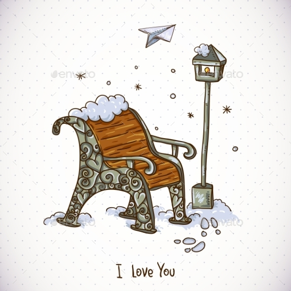 Vintage Winter Card with Snow-Covered Bench - Patterns Decorative