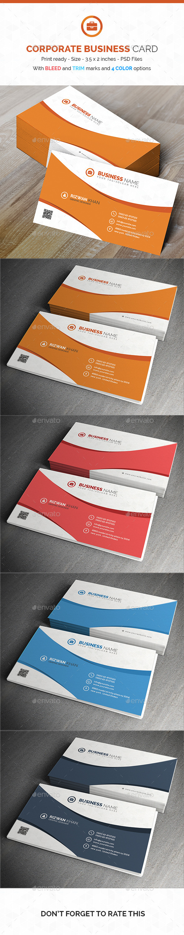 Corporate Business Card PSD Template - Corporate Business Cards