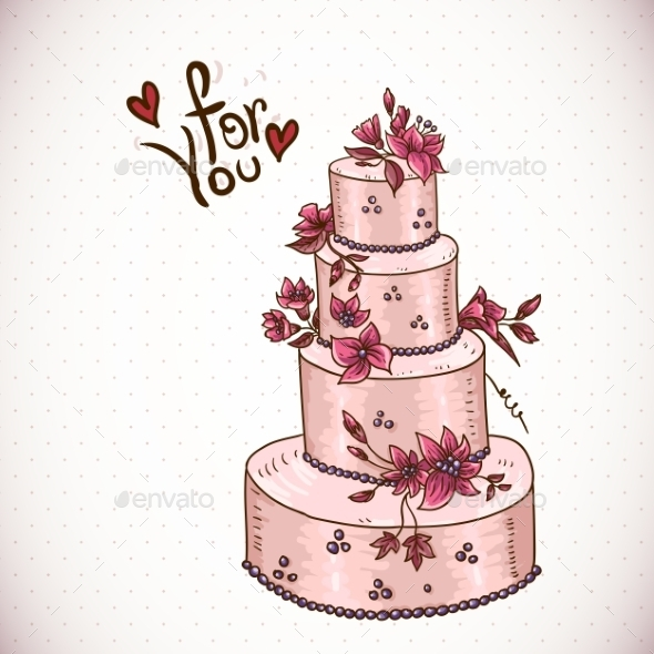 Vintage Floral Card with Wedding Cake - Patterns Decorative