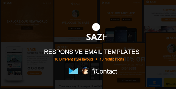 Saze - Responsive Email Kit + Themebuilder Access  - Email Templates Marketing