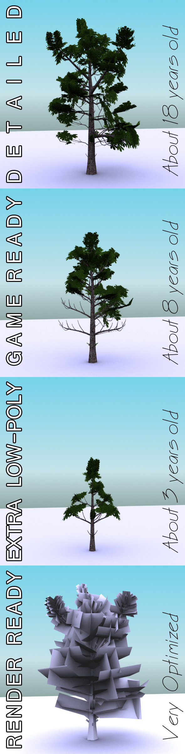 GameReady Low Poly Tree Pack 3 (Horse-chestnut) - 3DOcean Item for Sale