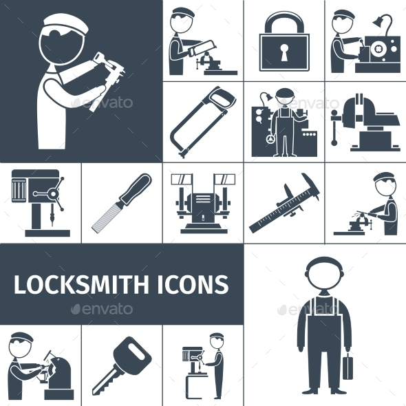 Locksmith Icons Black - Decorative Symbols Decorative