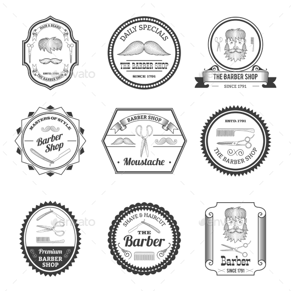 Barber Shop Emblems - Industries Business