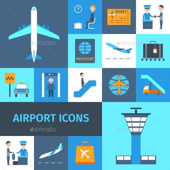 Airport Decorative Icons Set - Travel Conceptual
