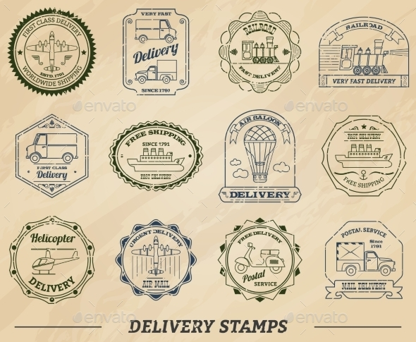 Delivery Stamps Set - Business Conceptual