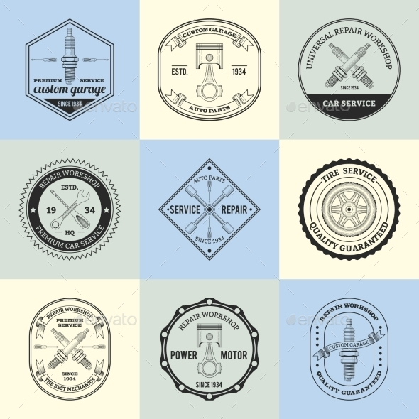 Repair Workshop Emblems - Miscellaneous Vectors