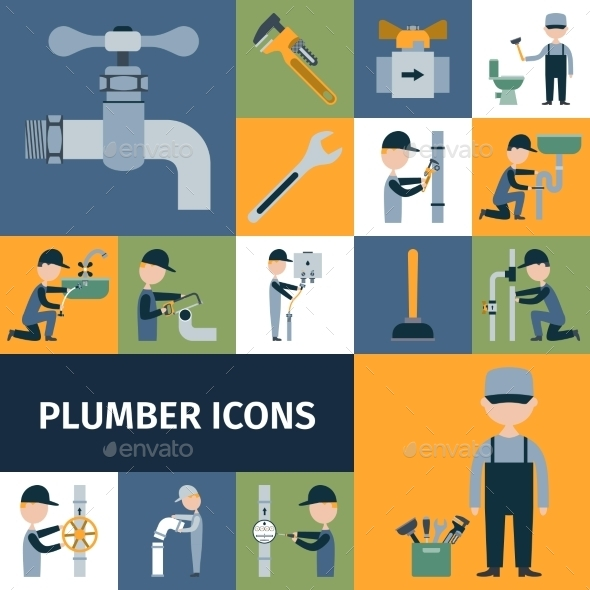 Plumber Icons Set - Industries Business