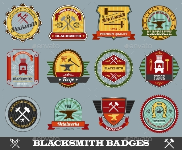 Blacksmith Badges Set - Industries Business