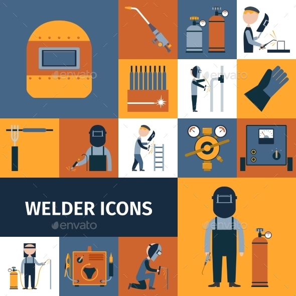 Welder Icons Set - Services Commercial / Shopping