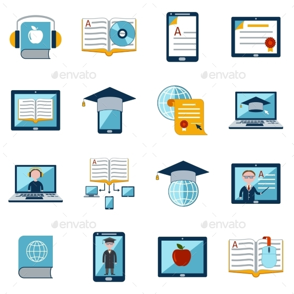 E-Learning Icons Set - Conceptual Vectors