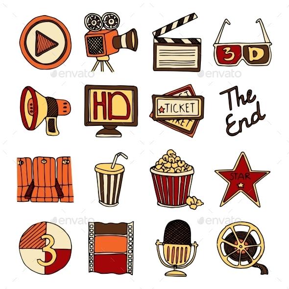 Cinema Vintage Icons Set - Retro Technology