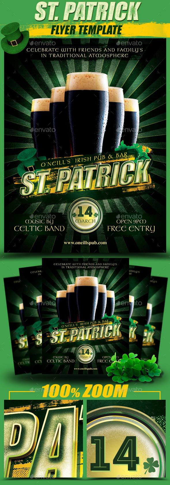 St. Patrick Black Beer Flyer Template - Holidays Events