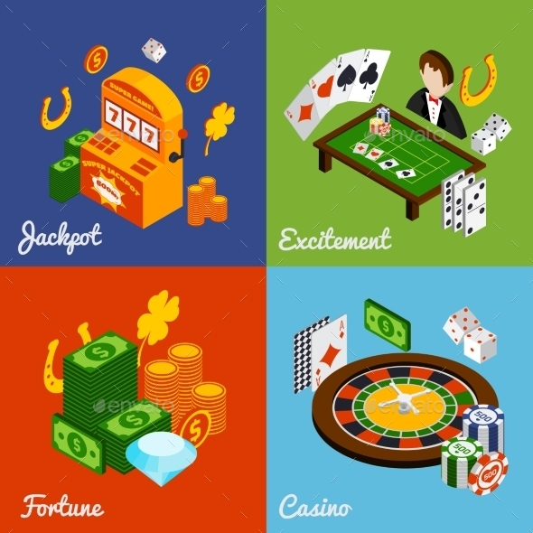 Casino Isometric Set - Decorative Symbols Decorative