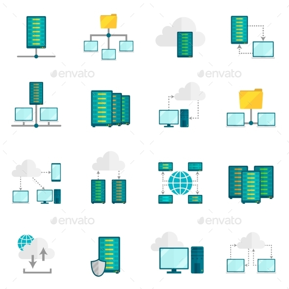 Hosting Service Flat Icons Set  - Web Technology