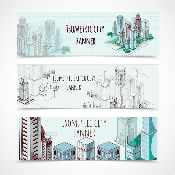 Isometric Building Banners - Buildings Objects