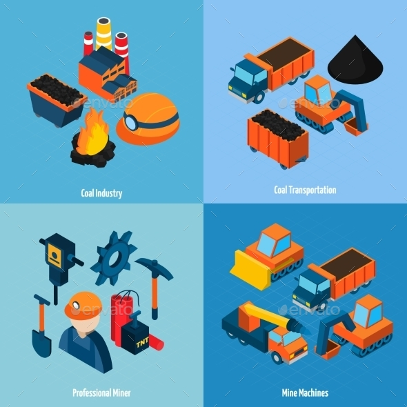Coal Industry Isometric - Industries Business