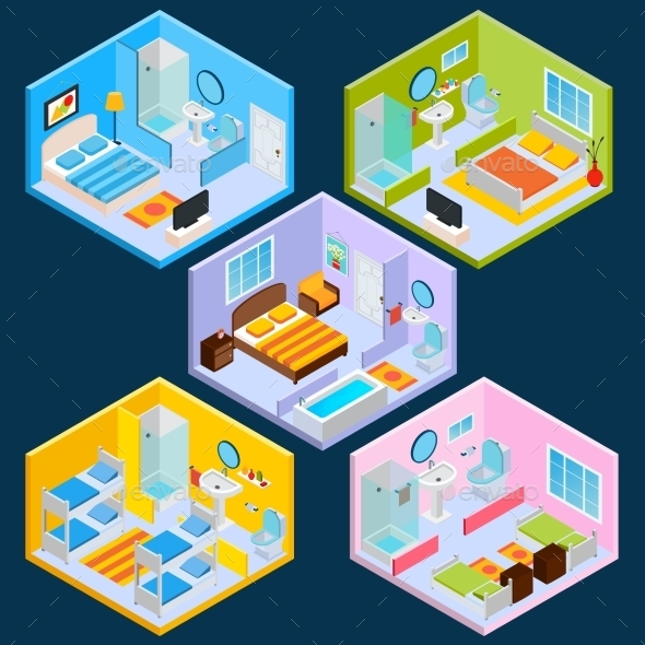 Isometric Hotel Interior - Buildings Objects