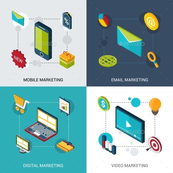 Marketing Isometric Set - Technology Conceptual