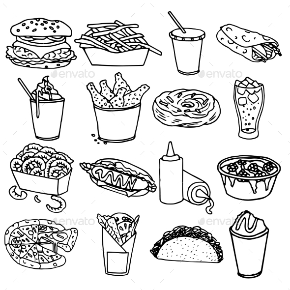 Fast Food Menu Icons - Food Objects