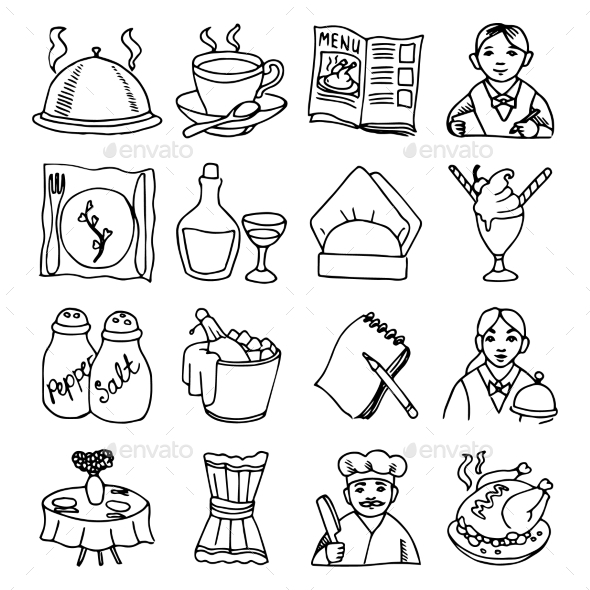 Restaurant Dishes Icon Set - Food Objects