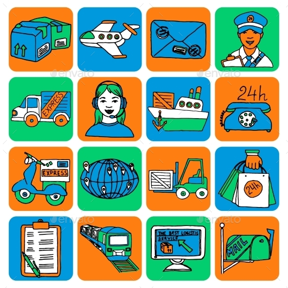 Logistic Cartoon Icons - Web Technology