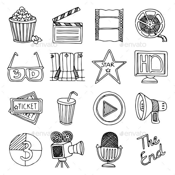 Cinema Movie Vintage Icons Set - Technology Conceptual
