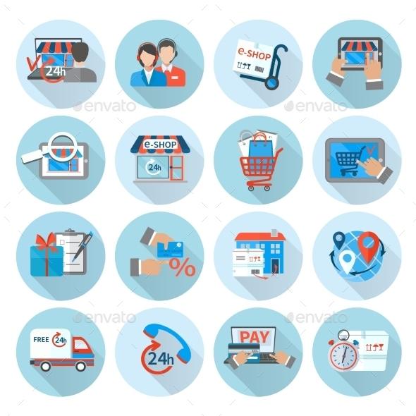 Shopping E-Commerce Icons - Web Elements Vectors