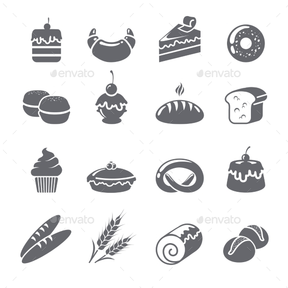 Baking Icons Black - Food Objects