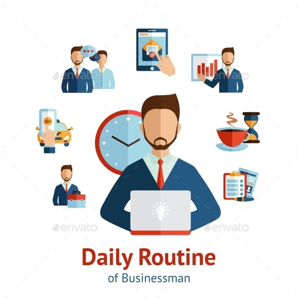 Businessman Daily Routine Concept Poster - Web Technology