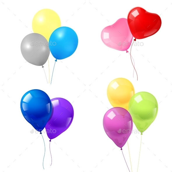 Colorful Balloons Icons Composition - Birthdays Seasons/Holidays