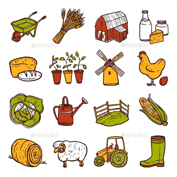 Agriculture Icons Set - Nature Conceptual