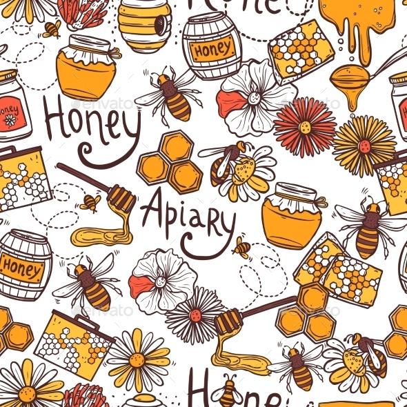 Honey Seamless Pattern - Backgrounds Decorative