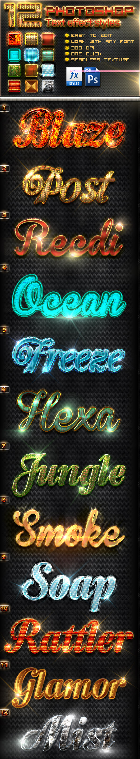 12 Photoshop Text Effect Styles Vol 4 - Text Effects Styles