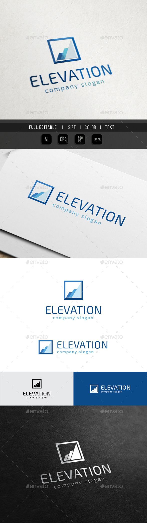 Elevate Square - Marketing Finance - Symbols Logo Templates
