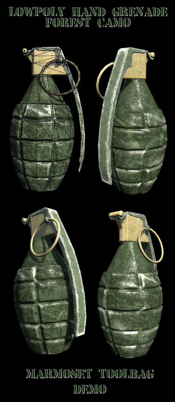 Lowpoly hand grenade - 3DOcean Item for Sale