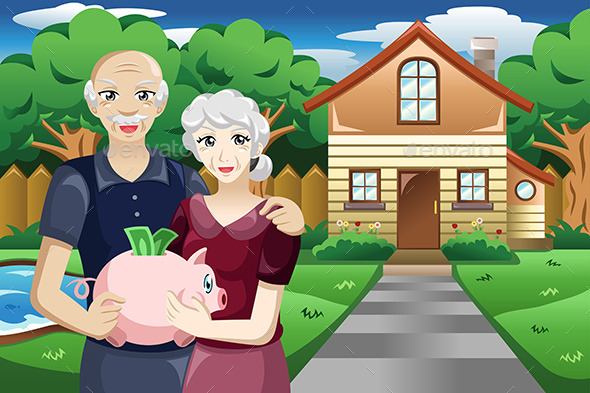 Retired People with Their Savings - People Characters