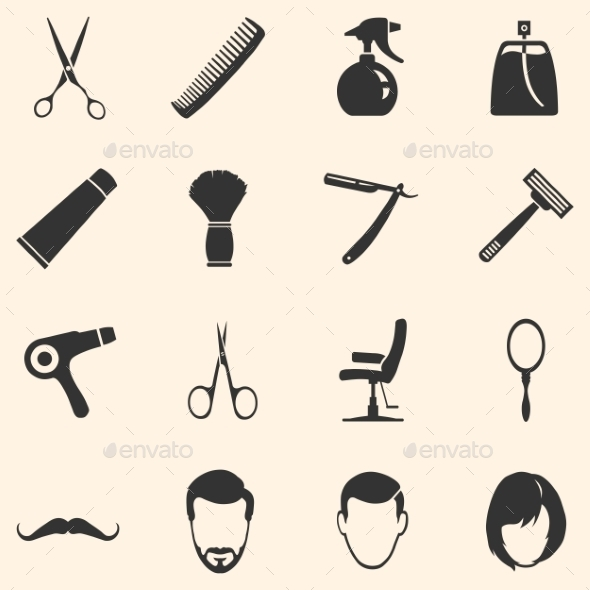 Vector Set of Barber Shop Icons - Miscellaneous Icons
