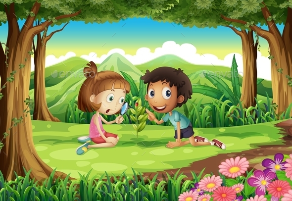 Forest with Two Kids Studying Plant Growth - People Characters