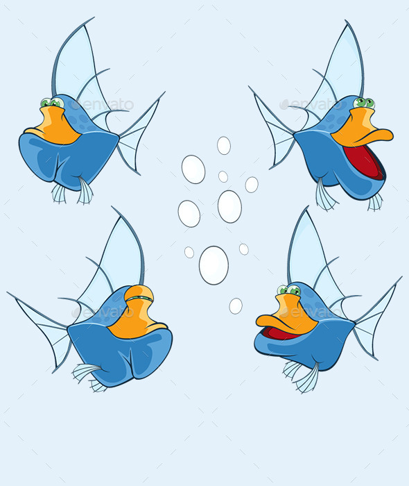 Cartoon Fishes Set - Animals Characters