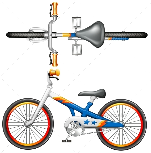 Top and Side View of a Bicycle - Man-made Objects Objects