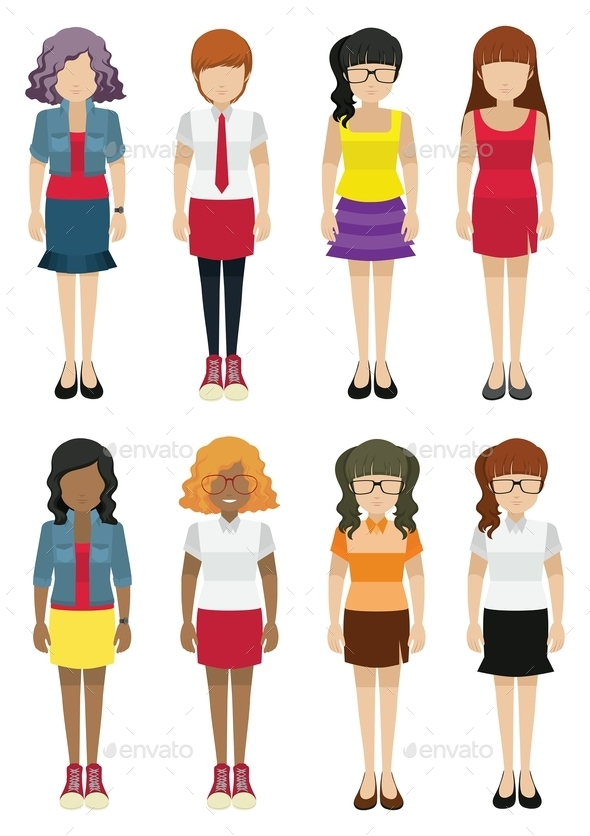 Faceless Women Template - People Characters