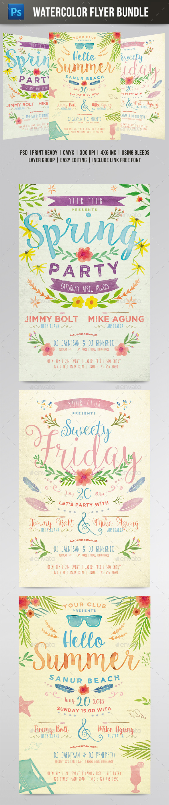 Watercolor Flyer Bundle - Events Flyers
