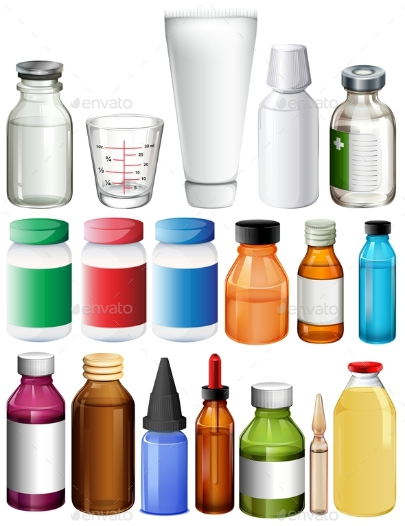 Set of Medical Containers - Man-made Objects Objects