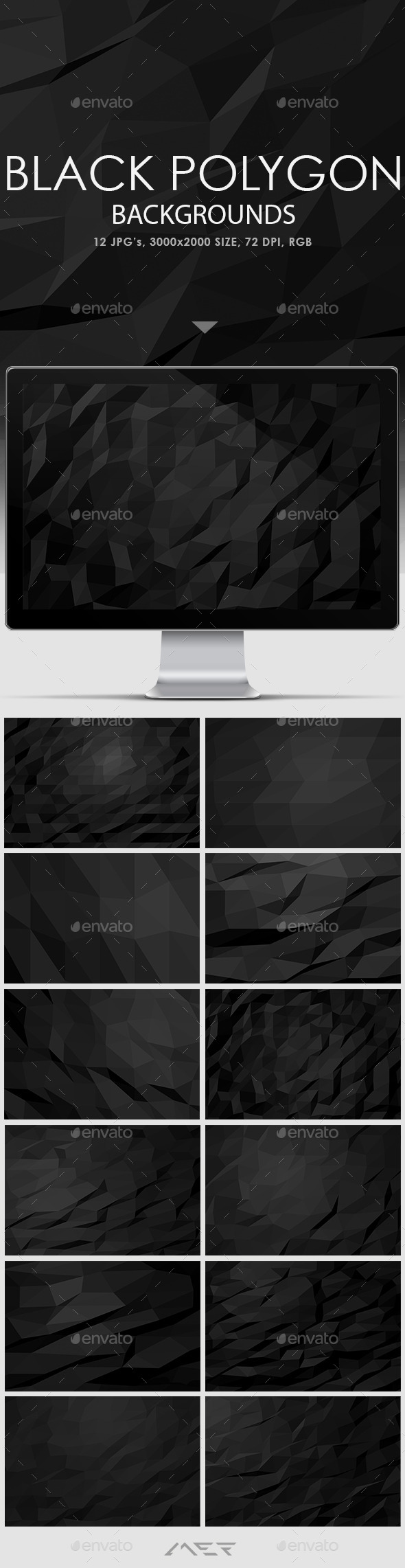 Black Polygon Backgrounds - Abstract Backgrounds