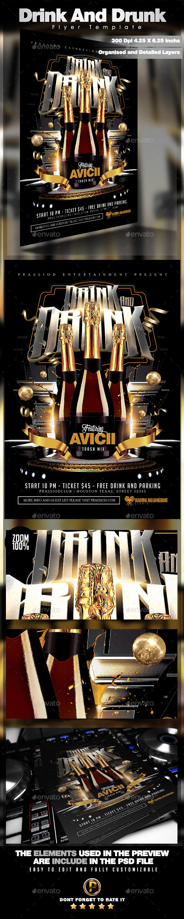 Drink And Drunk Flyer Template - Clubs & Parties Events