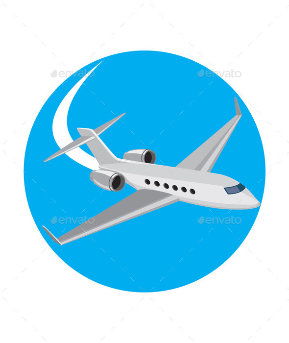 Commercial Light Passenger Airplane Circle - Travel Conceptual