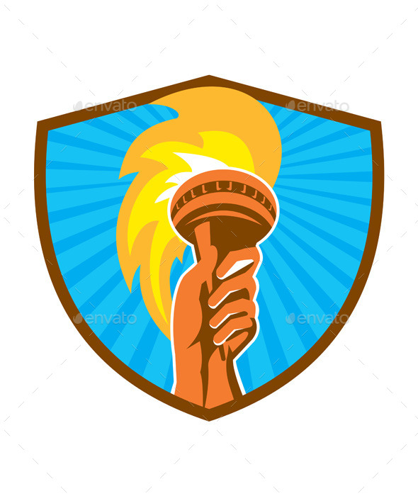 Hand Holding Burning Flaming Torch Shield - Sports/Activity Conceptual