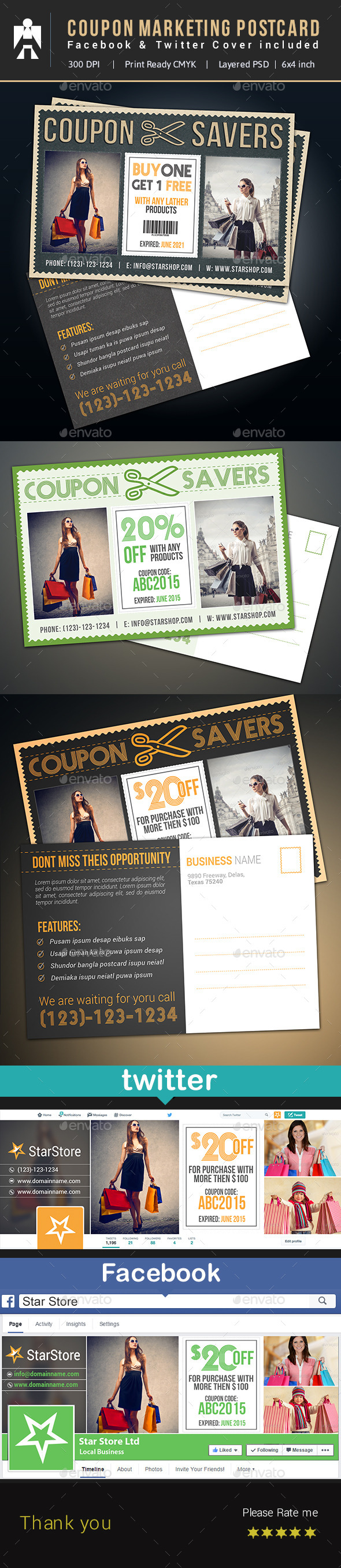 Coupon Postcard, Facebook & Twitter - Cards & Invites Print Templates