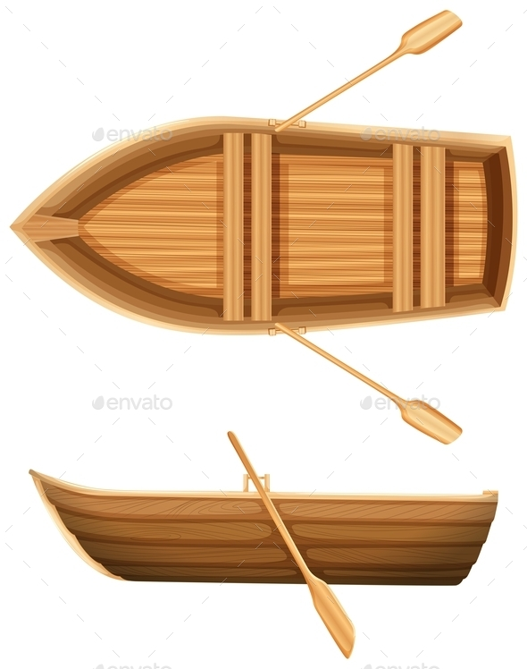 Top and Side View of a Boat - Man-made Objects Objects